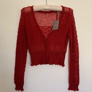 NWT Anthropologie Delicate Lacy Red Sweater Size S